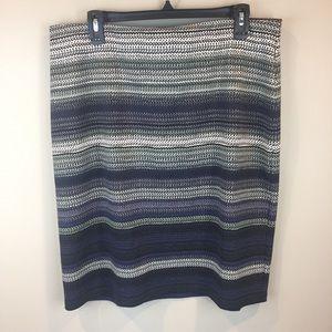 Roz & Ali Blue Gray Striped Stretchy Pencil Skirt